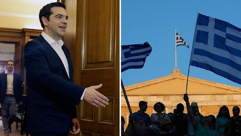 Greklands premiärminister efter resultatet av folkomröstningen. Foto: Thanassis Stavrakis/TT och Emilio Morenatti/TT