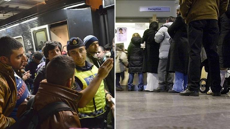 Nyanlända får hjälp av polis på Malmö Centralstation. Kö på Migrationsverkets lokaler. Foto: Jonas Ekströmer/TT, Björn Larsson Ask/TT