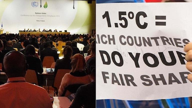 Många frågor återstår på klimatmötet. Foto: TT. Montage: Sveriges Radio.