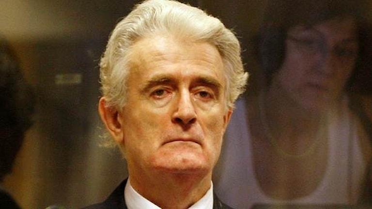 Den tidigare Bosnienserbiske ledaren Radovan Karadžić i rättssalen i Haag.  Foto: Jerry Lampen