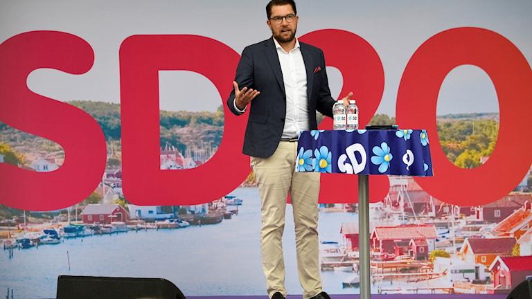 Sverigedemokraternas partiledare Jimmie Åkesson håller sitt tal under politikerveckan i Almedalen.