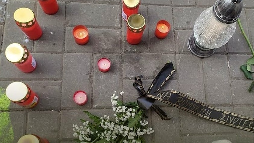 A Romani man passed away at that spot on Saturday, 19 June after police intervened against him, kneeling on his neck as part of their arrest tactics.
