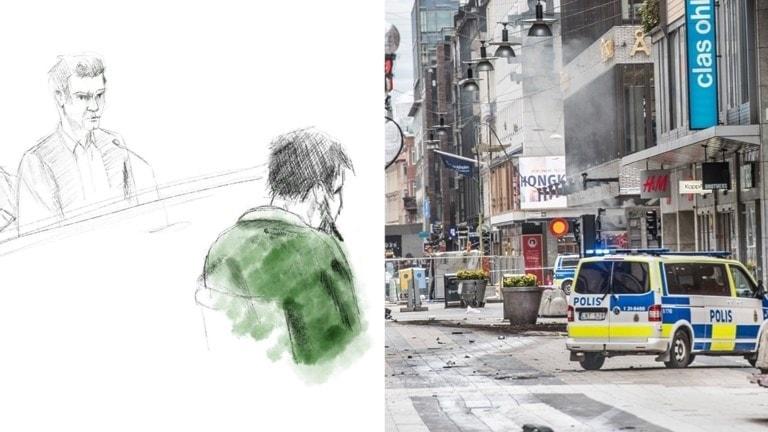 Skiss på Rakhmat Akilov i rätten och Drottninggatan efter dådet. Foto: TT och illustration: TT.