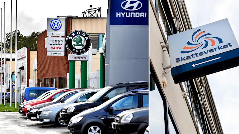 Delad bild: bilar utanför bilhandlare, en skatteverket-skylt.