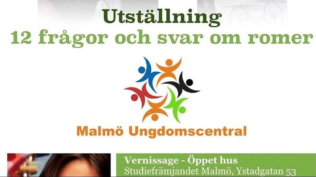 """exibicia/vernissagee anvea """"12 frågor och svar om romer i Malmö""""."""