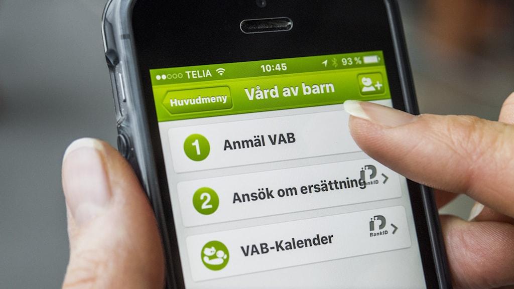 Försäkringskassans app, anmälan av vård av sjukt barn, VAB, via mobiltelefon