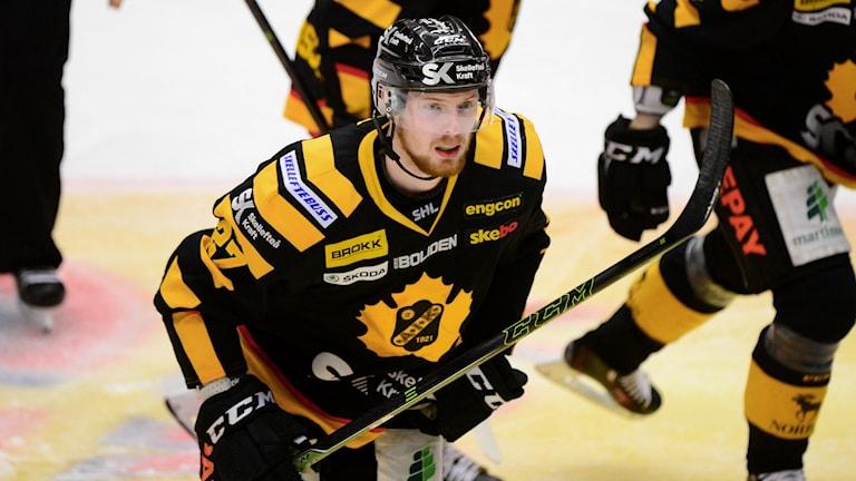 Lundberg i Skellefteås dräkt. I ett semifinalmöte mot just Växjö 2016. Arkivbild: