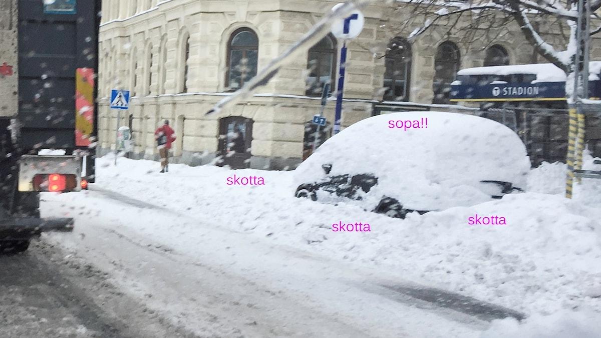 Insnöad bil. Foto: Åsa Stöckel/Sveriges Radio