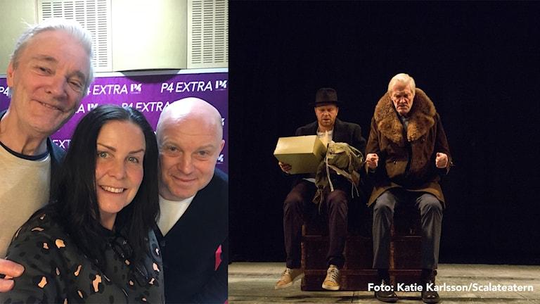Claes Månsson, Rickard Ulvshammar och Titti Schultz och bild från föreställningen Kvinna i Svart