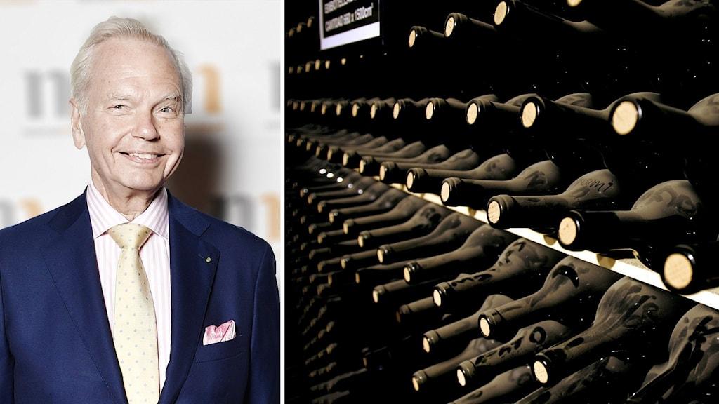 Carl Jan Granqvist och flaskor vin.