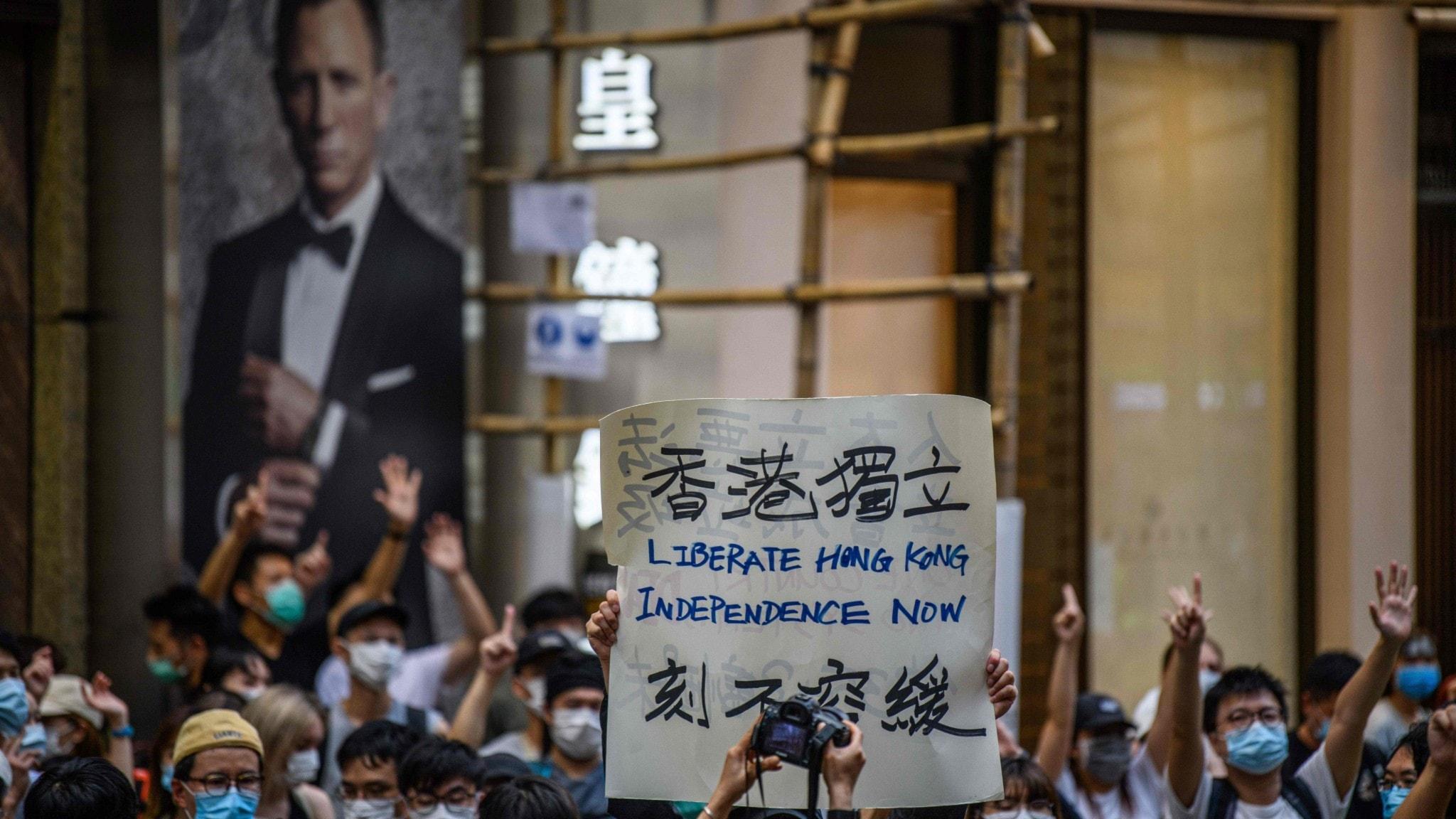 Protester i Hong Kong.