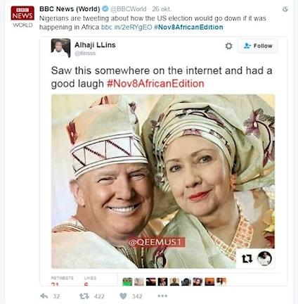 Satirbild av Donald Trump och Hillary Clinton