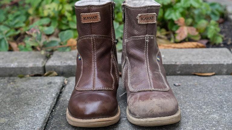 Oputsad och putsad sko