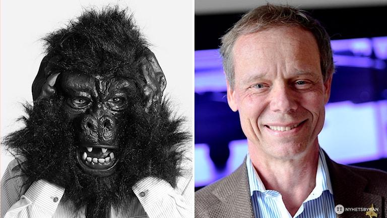 gorillamask till vänster och till höger en leende man