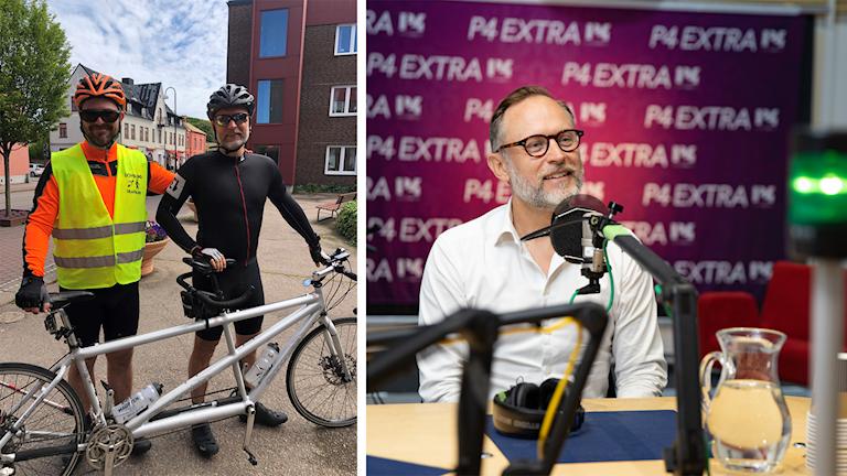 Bröderna Torbjörn Svensson och Fredrik Fexe med sin tandemcykel och en porträttbild av Fexe.