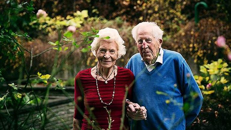 Brudparet 89-åriga Torgerd Berntsson och Lars Thorleif, 92. Foto: Olof Ohlsson/ Göteborgsposten