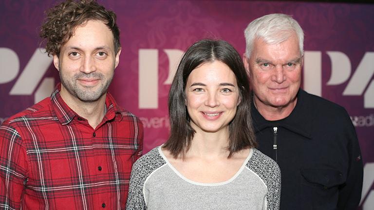 Alex Haridi,Louise Peterhoff och Lasse Bengtsson. Foto: Åsa Stöckel/Sveriges Radio