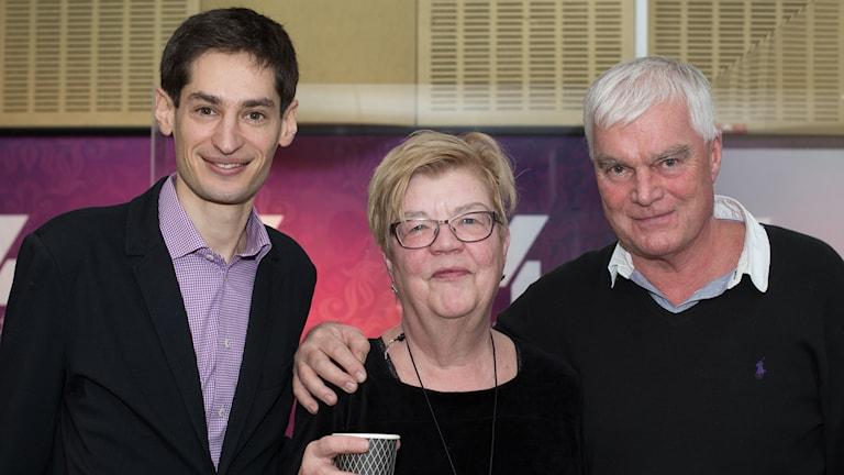 Peter Wolodarski, Lena Mellin och Lasse Bengtsson. Foto: Åsa Stöckel/Sveriges Radio