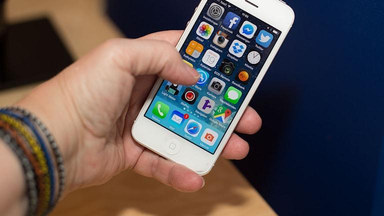 Smartphone med appar. Foto: Åsa Stöckel/Sveriges Radio