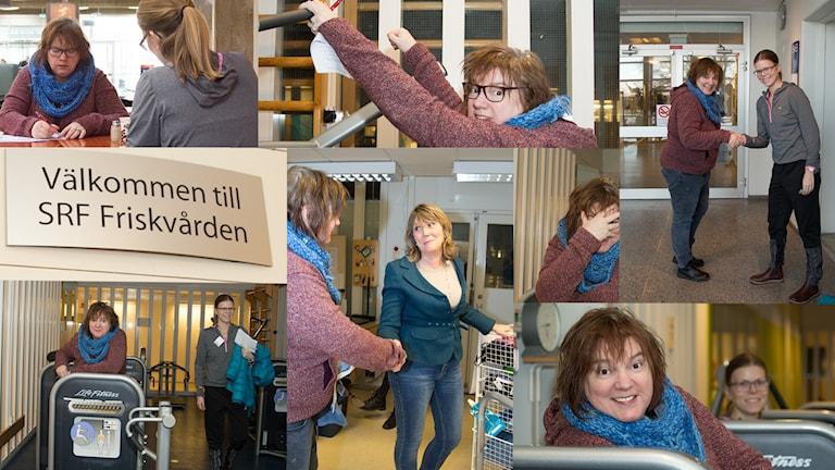 Lotta och Terese på gymmet. Foto: Åsa Stöckel/Sveriges Radio