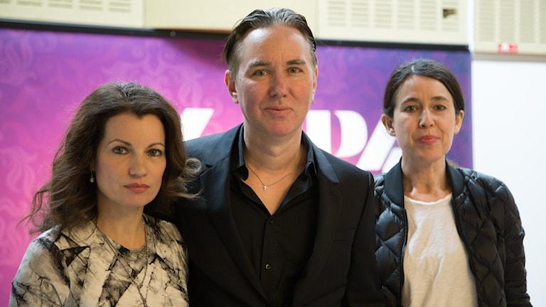 Alexander Ahndoril, Alexandra Coelho Ahndoril och Carina Nustedt. Foto: Åsa Stöckel/Sveriges Radio