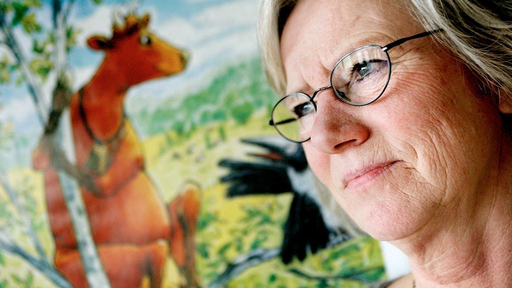 Barnboksförfattaren Jujja Wieslander med sin Mamma Mu. Foto: Jessica Gow/TT