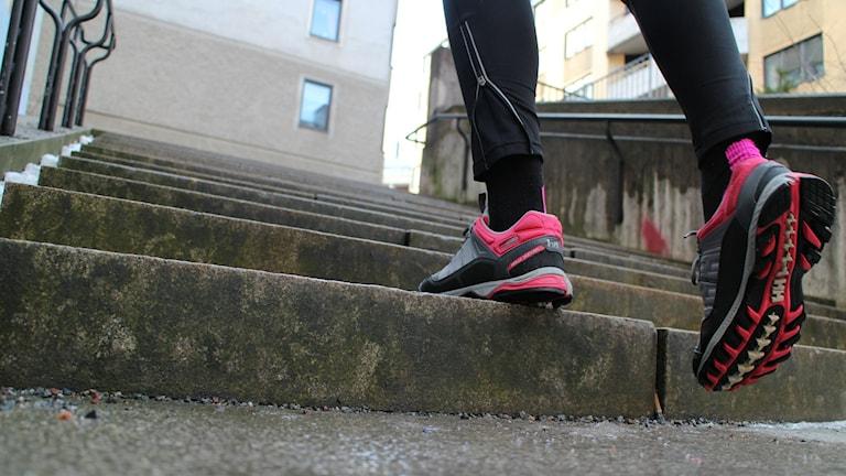 Att springa i trappor ger både kondition och styrka.