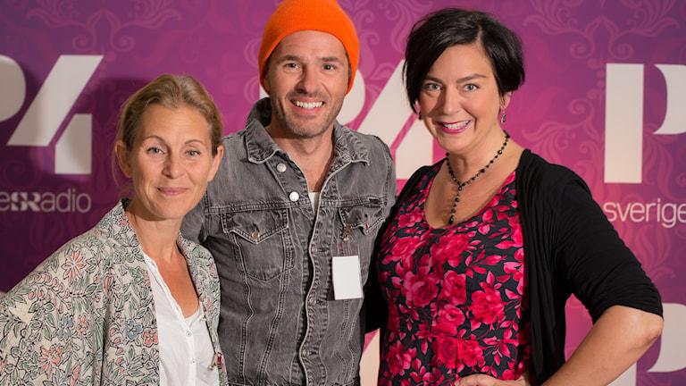 Helen Sjöholm och Peter Jöback med Nina Allergren. Foto: Åsa Stöckel/Sveriges Radio