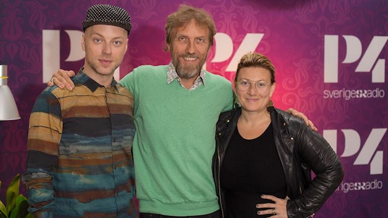Robert Fux, Erik Blix och Sarah Dawn Finer. Foto: Åsa Stöckel/Sveriges Radio
