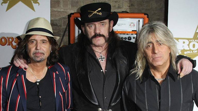 Phil Campbell, Lemmy Kilmister, och svenska Mikkey Dee i Motörhead. Foto: Joel Ryan/Invision/AP/TT