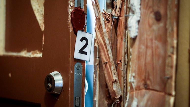 Uppbruten dörr. Foto: Helena Landstedt/TT