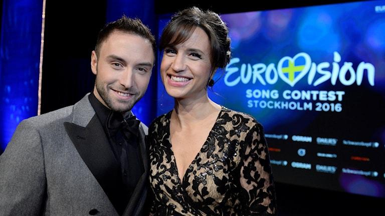Монс Зельмерлёв и Петра Меде - ведущие Евровидения 2016 в Стокгольме. Фото: Jessica Gow/TT