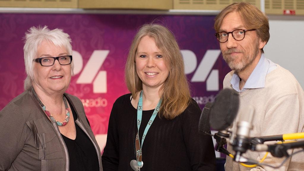 Aina Bergvall, Lotta Ederth och Erik Blix. Foto: Åsa Stöckel/Sveriges Radio