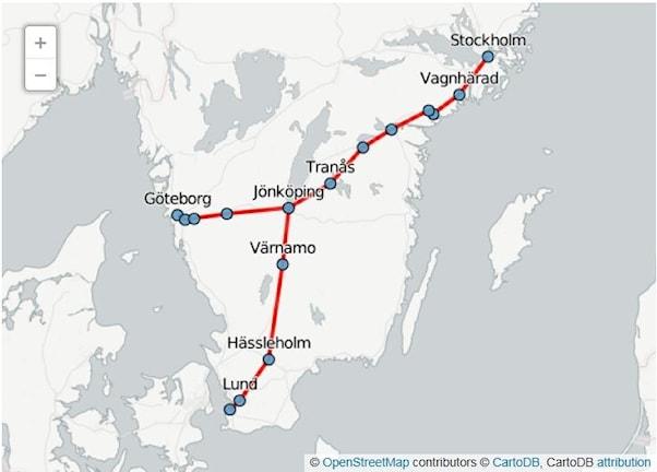 Karte geplante Hochgeschwindigkeitszüge in Schweden. Quelle: Verkehrsbehörde Trafikverket