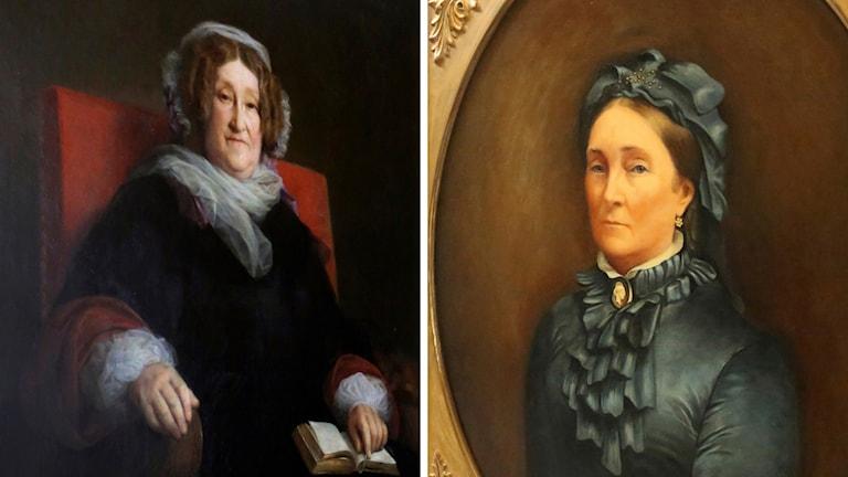 Mrs. Veuve Clicquot Ponsardin till vänster och  Mrs. Louise Veuve Pommery till höger