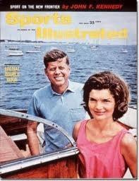 Jackie och John F Kennedy i båt på havet