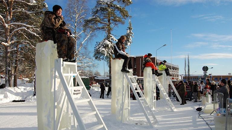 Isstolpssittning. Foto: Gunnar Wikström/Wilhelmina Winter Weekends