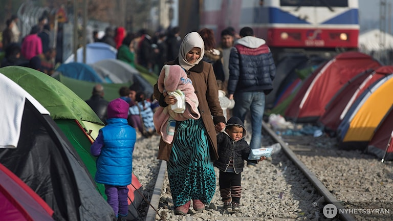 Flyktingar tält Idomeni Grekland