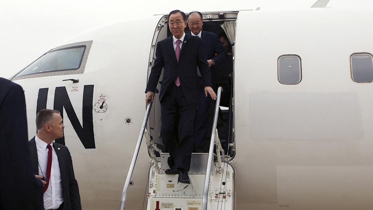 Ban Ki-moon anländer med flyg. (arkivbild)