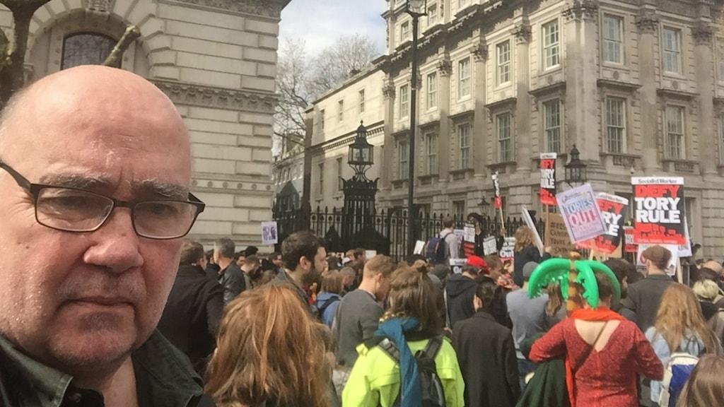 Sveriges Radios ekonomikorrespondent Staffan Sonning rapporterade från demonstrationerna.