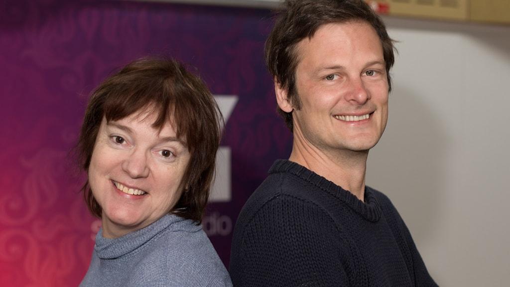 Christophe Galfard  och Lotta Bromé. Foto: Åsa Stöckel/Sveriges Radio