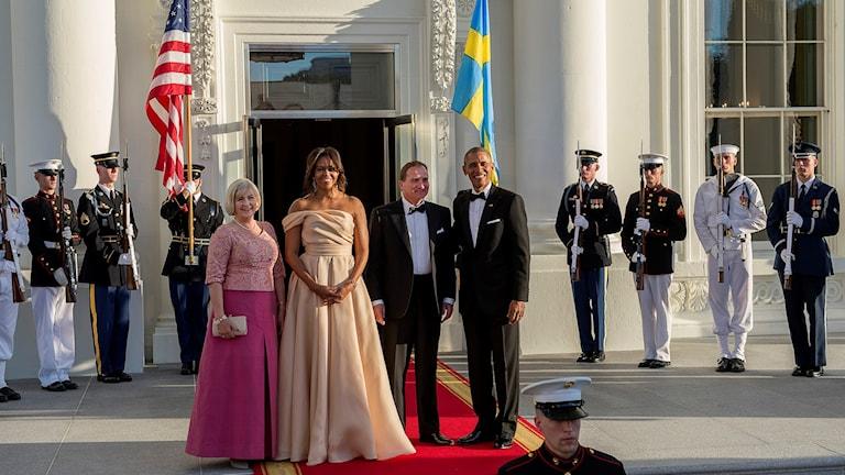 Statsminister Stefan Löfven med fru och paret Obama vid Vita huset.