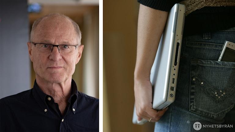 Allan Linnér och bild på en hand med dator