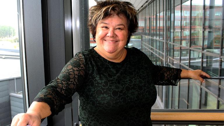 Ann Westin på besök i radiohuset i Göteborg.