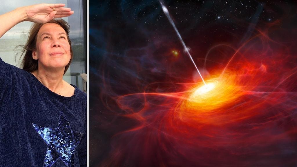 Rymd-Maria och en bild på rymdfenomenet kvasar.