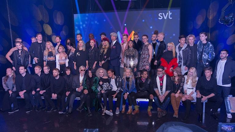 Alla deltagare i Melodifestivalen 2017. Foto: Åsa Stöckel/Sveiges Radio