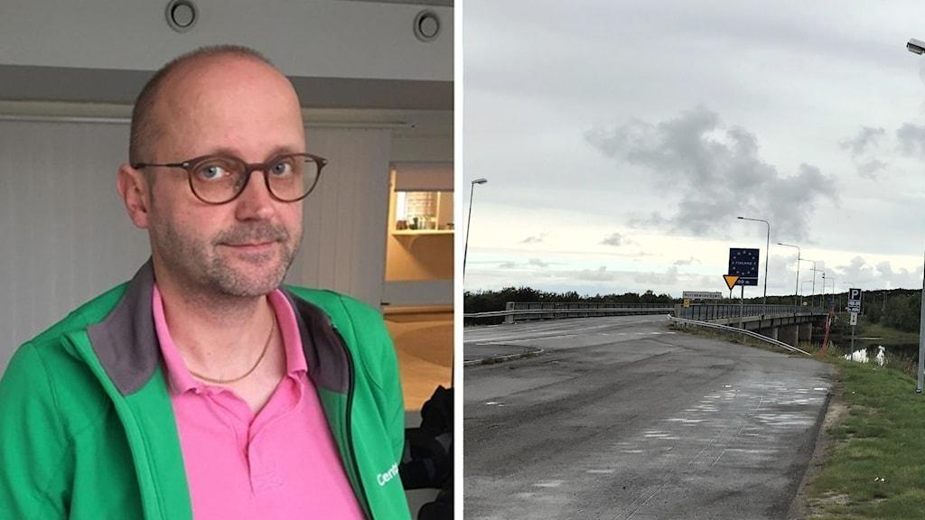 En man på bilden med grön jacka ler in mot kameran. Till  höger en bild på en bro.