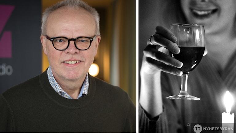 vinexpert Håkan Larsson och kvinna med vinglas