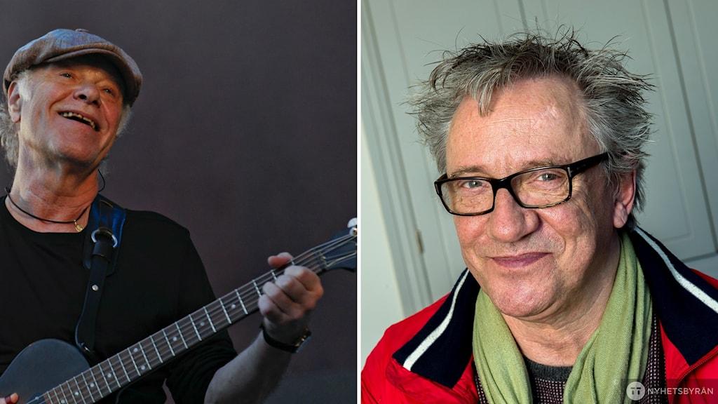 Vit man spelar gitarr iklädd keps och svart t-shirt. Till höger vit man med grånat hår och glasögon i klädd grön halsduk och röd jacka.