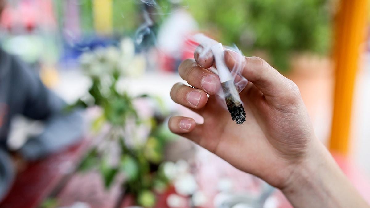 En ung man röker cannabis i stadsdelen Christiania i Köpenhamn.